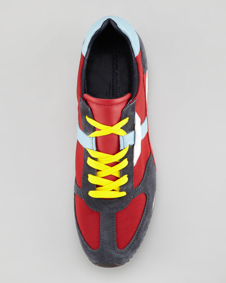 Suede & Mesh Low-Profile Lace-Up Sneaker, Red/Gray/Blue