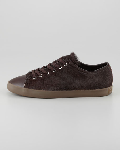Low-Profile Lace-Up Calf Hair Sneaker