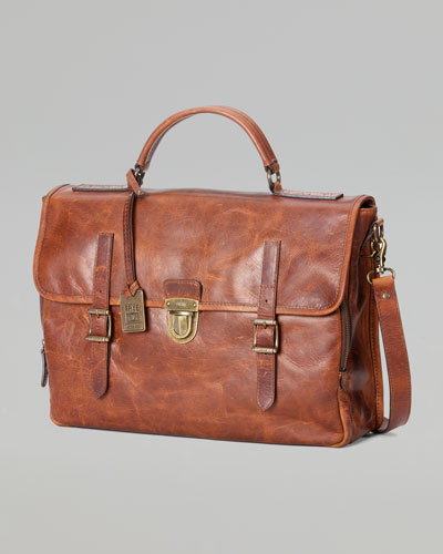 Logan Buckle Leather Briefcase, Cognac