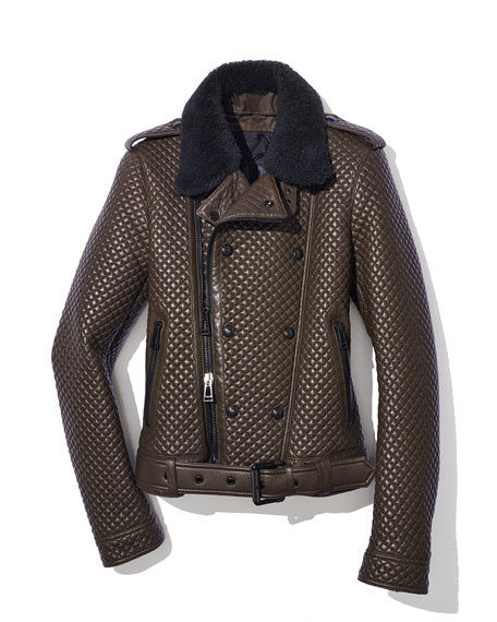 Buckton Quilted Leather Jacket, Antique Bronze