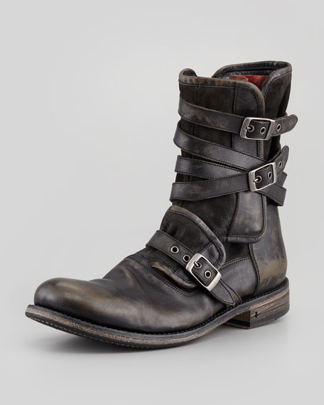 Multi-Strap Buckle Boot, Charcoal