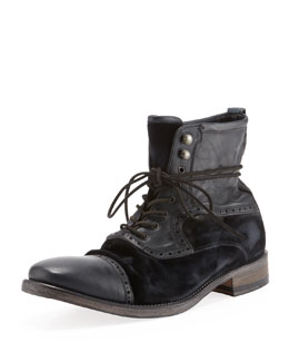 John Varvatos Fleetwood Leather/Velvet Boot, Black