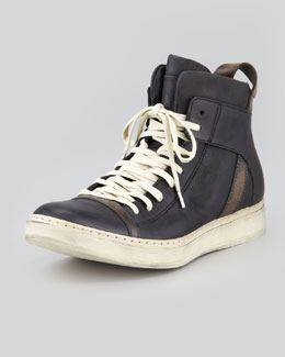 John Varvatos Leather High-Top Sneaker, Black