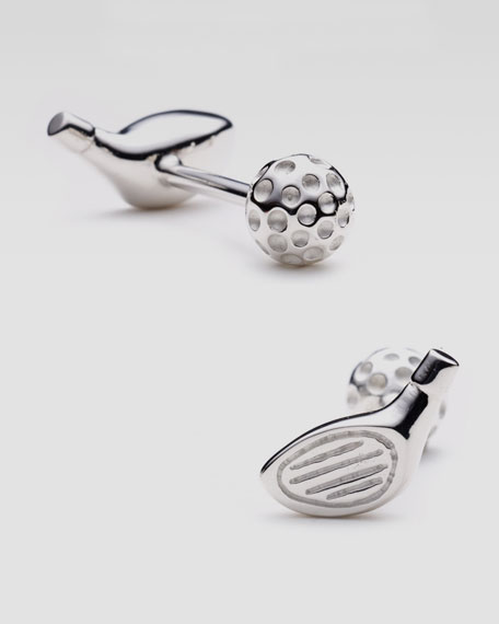 Sterling Silver Golf Ball & Driver Cuff Links