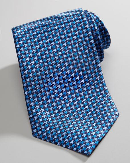 Houndstooth Silk Tie, Blue