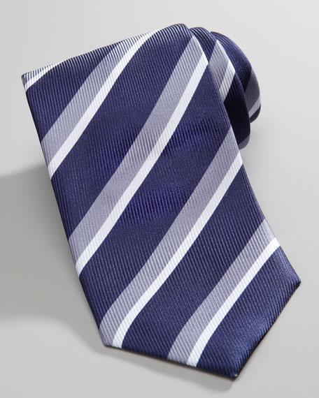 Striped Silk Tie, Blue/White/Gray