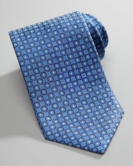 Micro Floral-Medallion Silk Tie, Blue