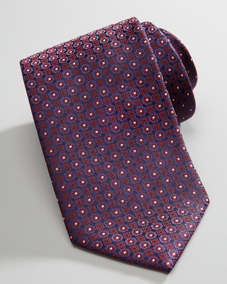 Micro Floral-Medallion Silk Tie, Navy/Red