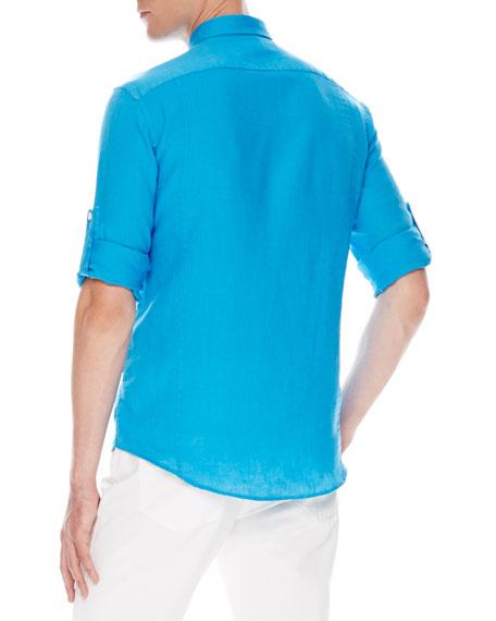 Tab-Sleeve Linen Shirt