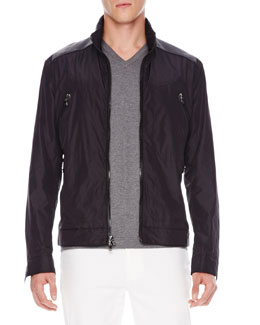 Michael Kors  Leather-Panel Nylon Jacket
