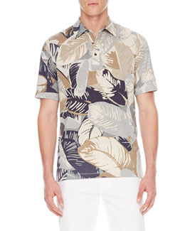 Michael Kors  Palm-Print Polo Shirt