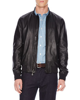 Michael Kors  Knit-Trim Leather Jacket
