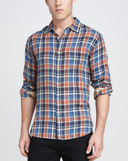 Rag & Bone Plaid Beach Shirt, Orange