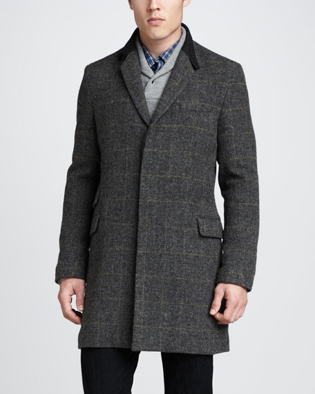 Eccelston Wool Jacket, Gray/Yellow