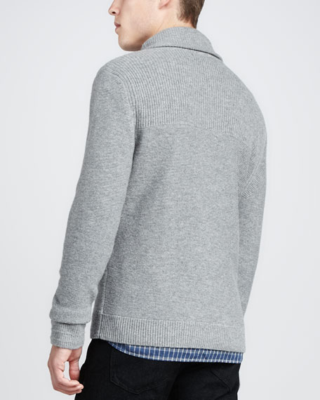 Graham Shawl Pullover Sweater, Light Gray