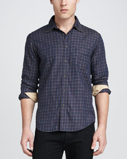 Rag & Bone Yokohama Check Long-Sleeve Shirt, Blue