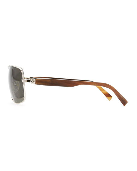 Metal & Horn Polarized Squared Sunglasses, Silver