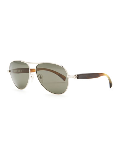 Brioni Metal & Horn Polarized Round Sunglasses, Silver