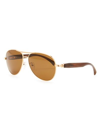 Brioni Metal & Horn Polarized Round Sunglasses, Golden
