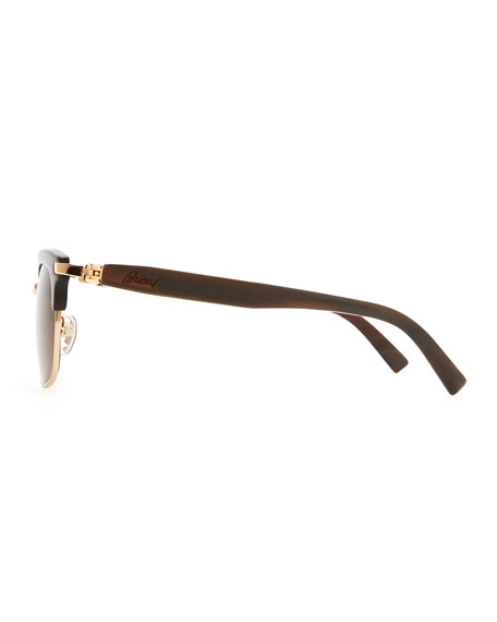 Metal & Horn Square Polarized Sunglasses, Brown
