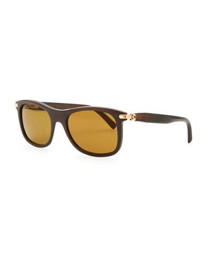 Brioni Round Horn Polarized Sunglasses, Brown