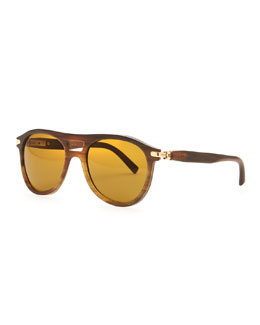 Brioni Horn Polarized Aviator Sunglasses, Brown