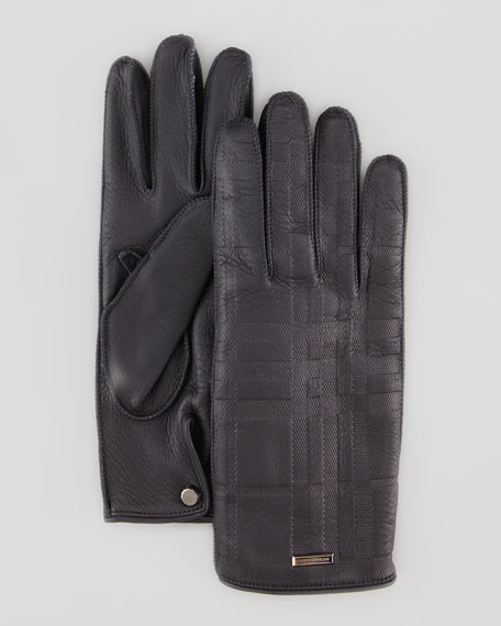 Men's Check-Embossed Leather Gloves, Black