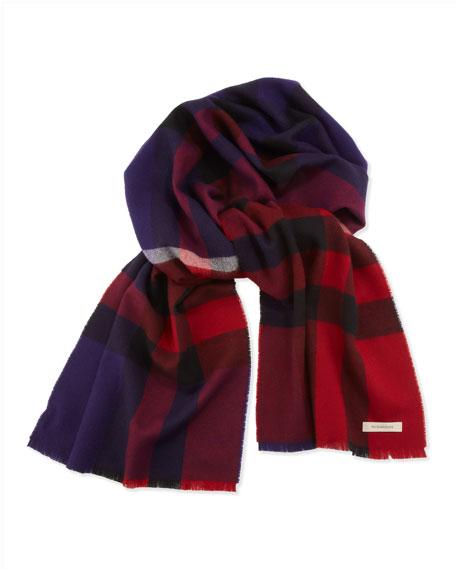Men's Merino Wool Check Scarf, Red