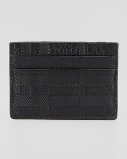 Burberry Check-Embossed Leather Card Case, Black