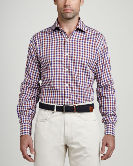 Check Long-Sleeve Oxford Shirt, Spice