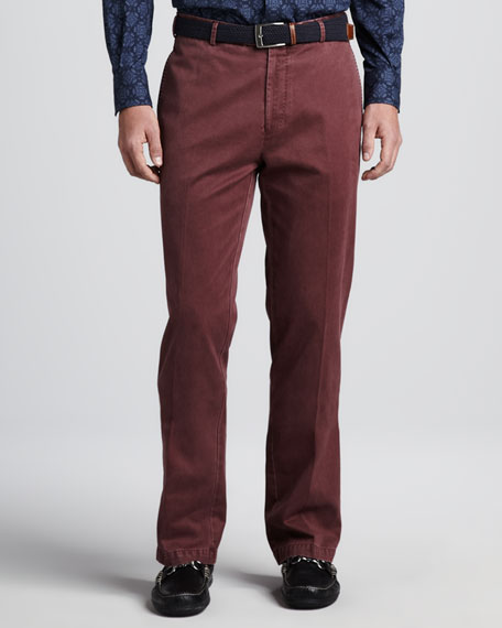 Raleigh Washed Twill Pants, Bordeaux