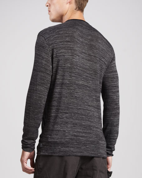 Raw-Edge Henley Shirt, Black/Gray