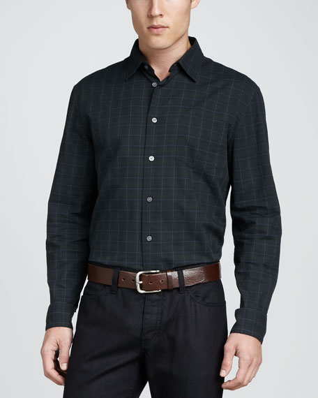 Slim-Fit Check Long-Sleeve Shirt, Blue/Green