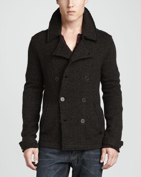 John Varvatos Star USA Mens Raw Edge Knit Pea Coat