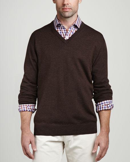 Merino V-Neck Sweater, Chocolate