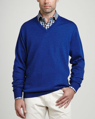 Merino V-Neck Sweater, Indigo