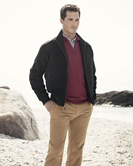 Merino 1/4-Zip Pullover Sweater, Antique Rose