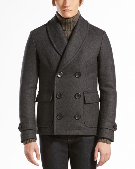 Shawl-Collar Felt Pea Coat, Gray