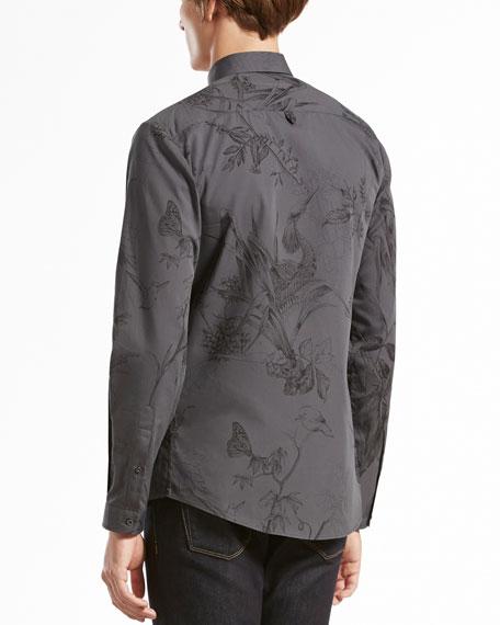 Long-Sleeve Botanic-Print Woven Shirt, Navy