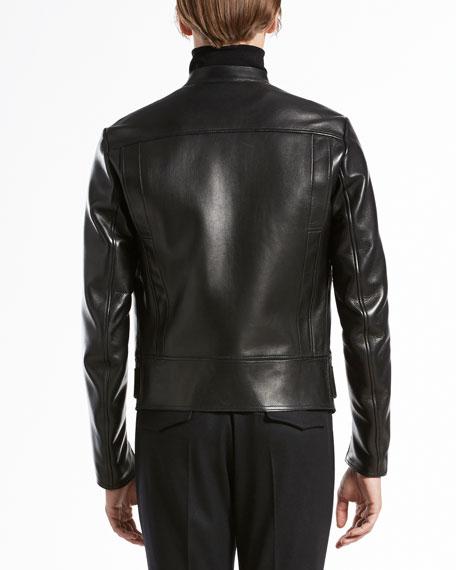 Bonded-Leather Biker Jacket, Black
