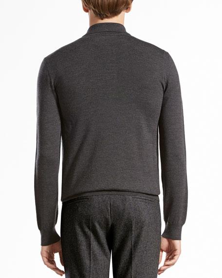 Wool-Melange Long-Sleeve Polo, Dark Gray