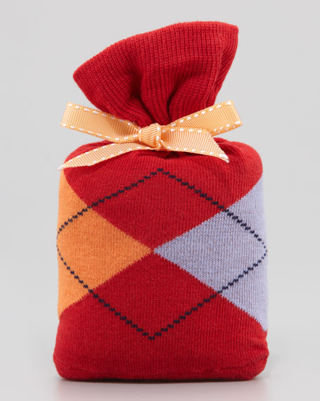 Argyle-Pattern Socks in Pouch, Red