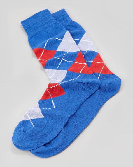 Argyle-Pattern Socks in Pouch, Royal Blue