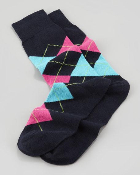 Argyle-Pattern Socks in Pouch, Navy