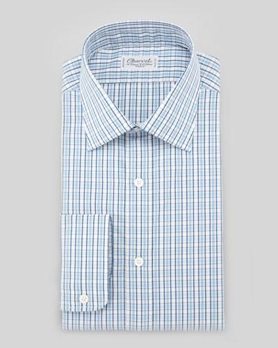 Charvet Small-Check Barrel-Cuff Dress Shirt, Blue/White