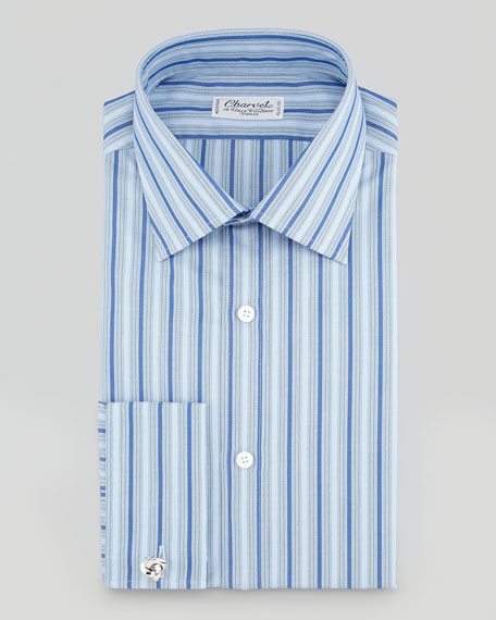Small-Plaid Barrel-Cuff Dress Shirt, Blue/White