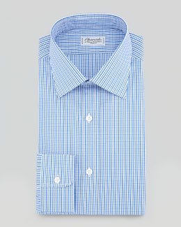 Charvet Gingham Dress Shirt, Blue/Brown