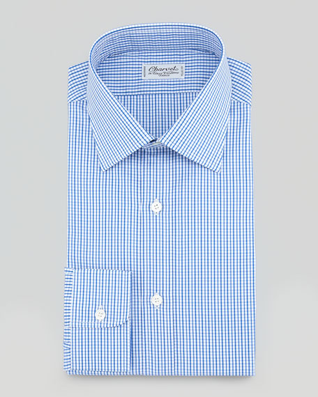 Gingham Dress Shirt, Blue/Brown