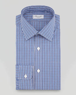 Charvet Striped Tonal Plaid Dress Shirt, Blue/Gray