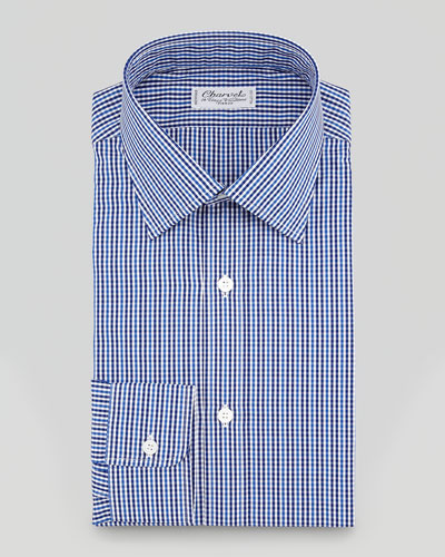 Charvet Striped Tonal Plaid Dress Shirt, Blue/Gray